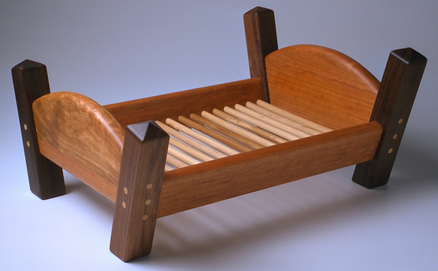 doll bed made of cherry and walnut