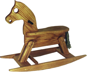 wooden rocking horse red oak wood